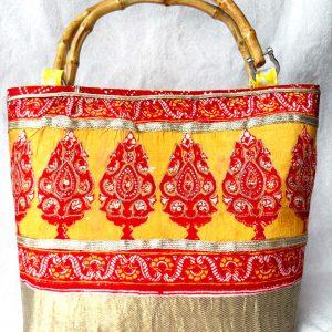 Handmade bag Indian garden full front