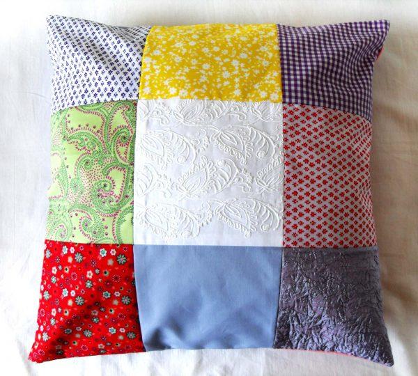 Handmade cushion Summer patchwork design full front