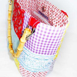 Handmade bag Summer patchwork full inside
