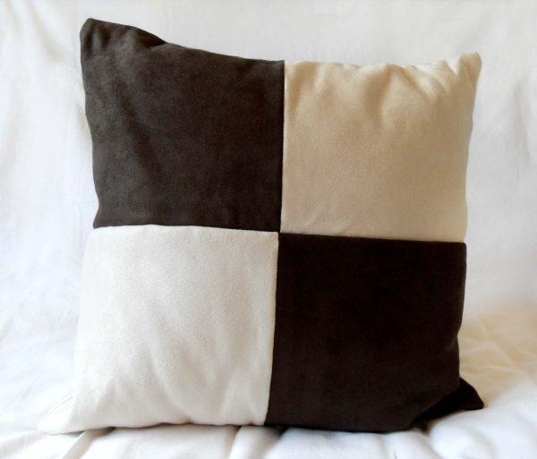 Handmade cushion Chocolate chequers full front