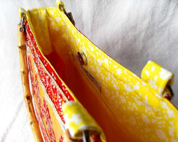 Handmade bag Indian garden close-up inside