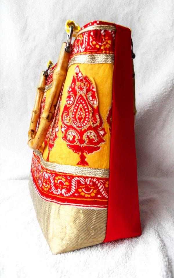 Handmade bag Indian garden full side front