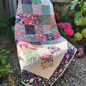 Handmade quilt Floral hopscotch design full front