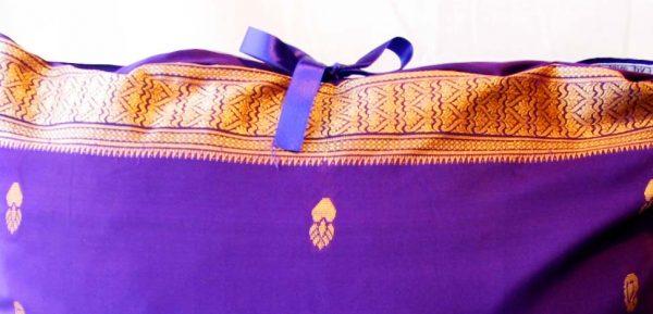 Handmade cushion Purple pattern close-up top