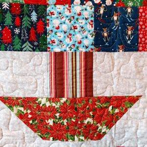 Handmade quilt Oh Christmas tree design close-up front