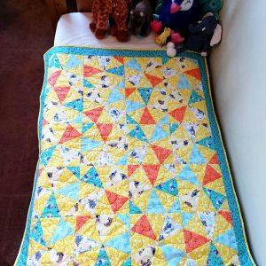 Handmade quilt Peter Rabbit kaleidoscope design full front