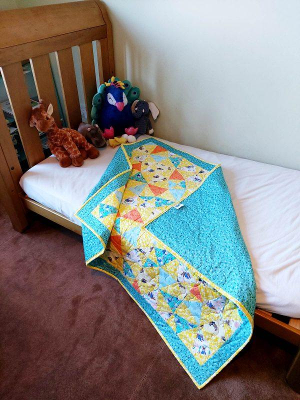 Handmade quilt Peter Rabbit kaleidoscope design full
