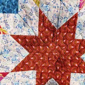 Handmade quilt Little star blue design close-up front