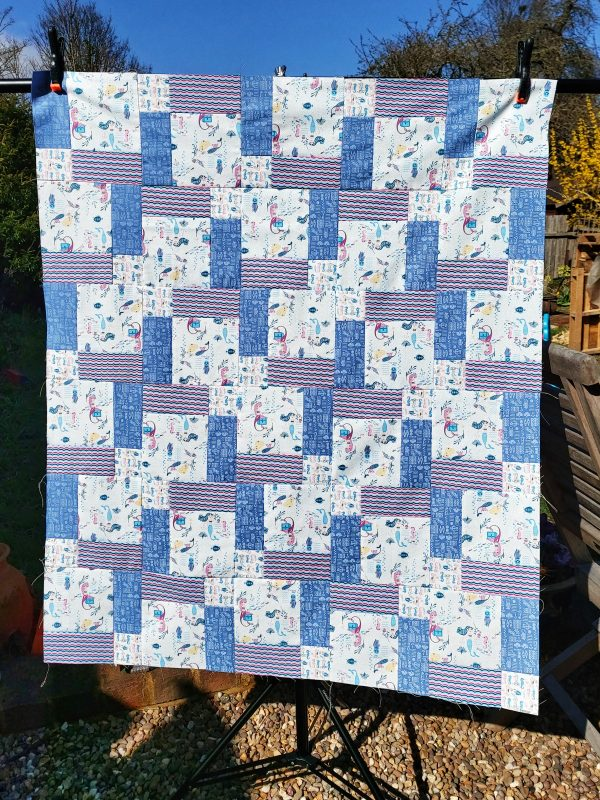Handmade quilt Disappearing mermaids 'Nearly there' range design full front